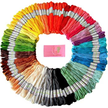 Premium Rainbow Color Embroidery Floss - Cross Stitch Threads - Friendship Bracelets Floss - Crafts Floss - 105 Skeins Per Pack and Free Set of Embroidery Needles