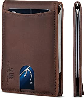 SERMAN BRANDS RFID Blocking Slim Bifold Genuine Leather Minimalist Front Pocket Wallets for Men with Money Clip