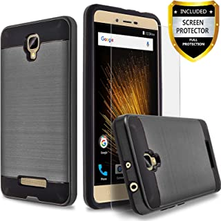 BLU Studio XL 2 Case, Circlemalls 2-Piece Style Hybrid Shockproof Hard Case Cover with [Premium Screen Protector] and Touch Screen Pen (Black)