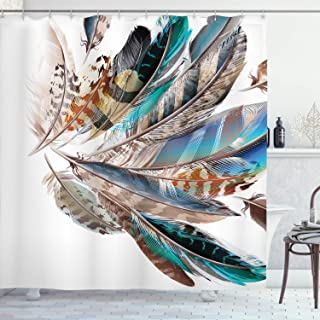 Ambesonne Feathers Shower Curtain, Vaned Types and Natal Contour Flight Bird Feathers and Animal Skin Element Print, Cloth Fabric Bathroom Decor Set with Hooks, 70