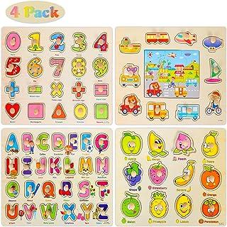 Ucradle Puzzle en Bois à Encastrement 4pcs Alphabet Chiffres Véhicules Fruits Jouet de Puzzle Montessori Jouet Éducatif Jo...