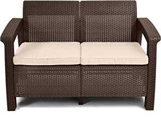 Keter Corfu Love Seat All Weather Outdoor Patio Garden Furniture w/ Cushions, Brown (Renewed)