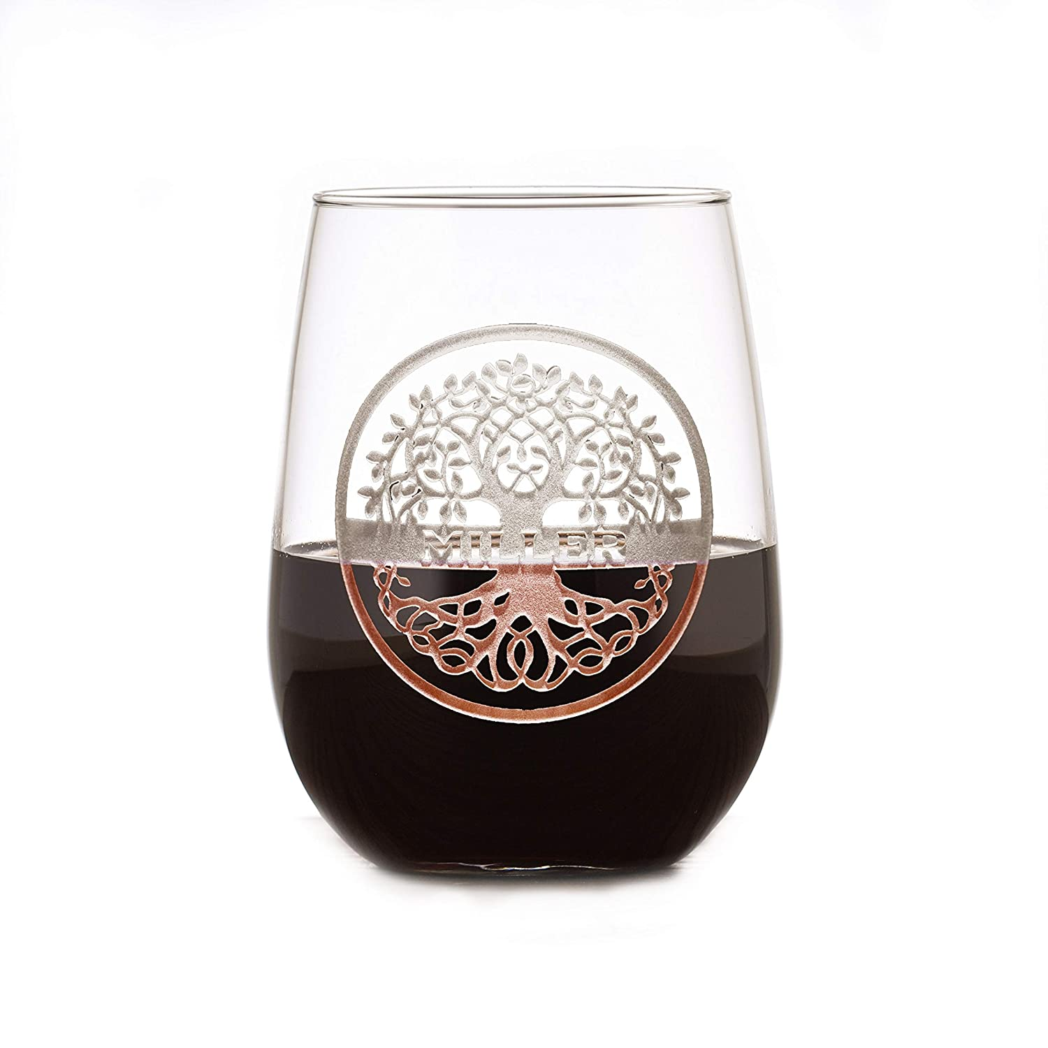 Family Tree Rapid rise Engraved Stemless Wine Of 2 Glass Quality inspection Set