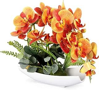 YOBANSA Orchid Bonsai Artificial Flowers with Imitation Porcelain Flower Pots Phalaenopsis Fake Flowers Arrangements for Home Decoration(Orange)