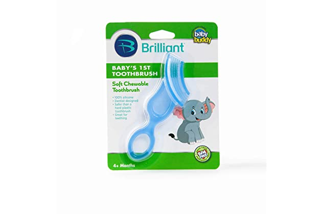 Brilliant Babys 1st Toothbrush Teether - Premium Silicone First Toothbrush for Babies and Toddlers - Kids Love Them, Blue, 1 Count