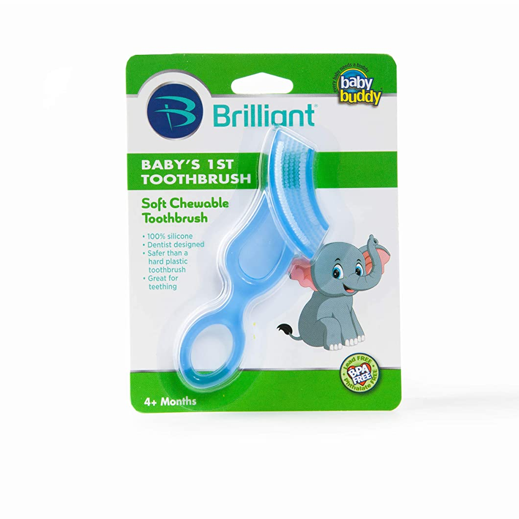 ぼろシール悪因子Baby Buddy Baby's 1st Toothbrush Stage 4 for Babies/Toddlers, Kids Love Them, Blue by Baby Buddy