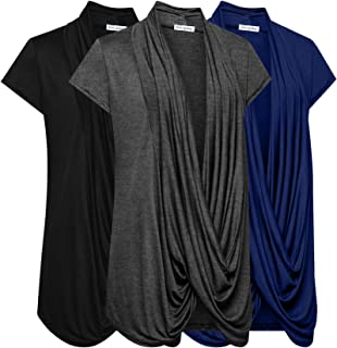 Free to Live 3 Pack Women's Lightweight Short Sleeve Criss Cross Nursing Tops