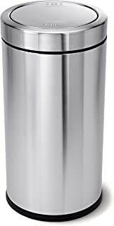 simplehuman 55 Liter / 14.5 Gallon Swing Top Trash Can, Commercial Grade, Stainless Steel