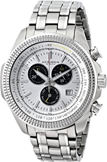 Akribos XXIV Men's Silver Chronograph Watch - Tachymeter Coin Edge Bezel - Sunburst Effect Dial - Luminous Hands and Markers - Stainless Steel Bracelet - AK617