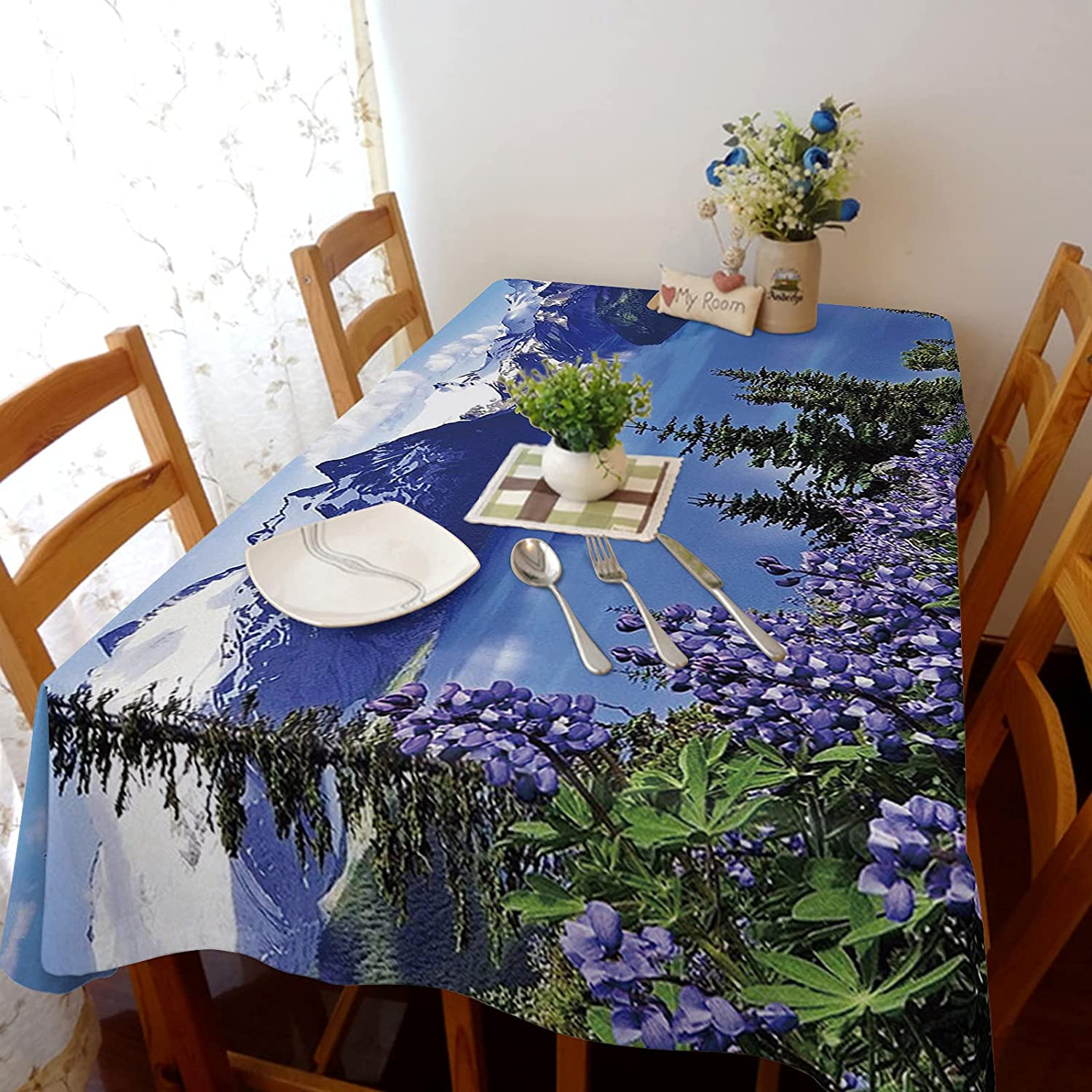 Mail order 60x104in Stretch Durable Tablecloth Linen Dust-Proof Cotton and Regular store