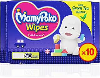 MamyPoko Wipes Mega Value Box, Pack of 10 x 50 Sheets, (500 Wipes)