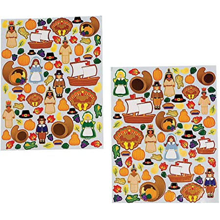Thanksgiving Holiday Sticker Pack #1  Special holiday home d\u00e9cor classroom wall decals  Pack of 8  Vinyl graphic art window stickers