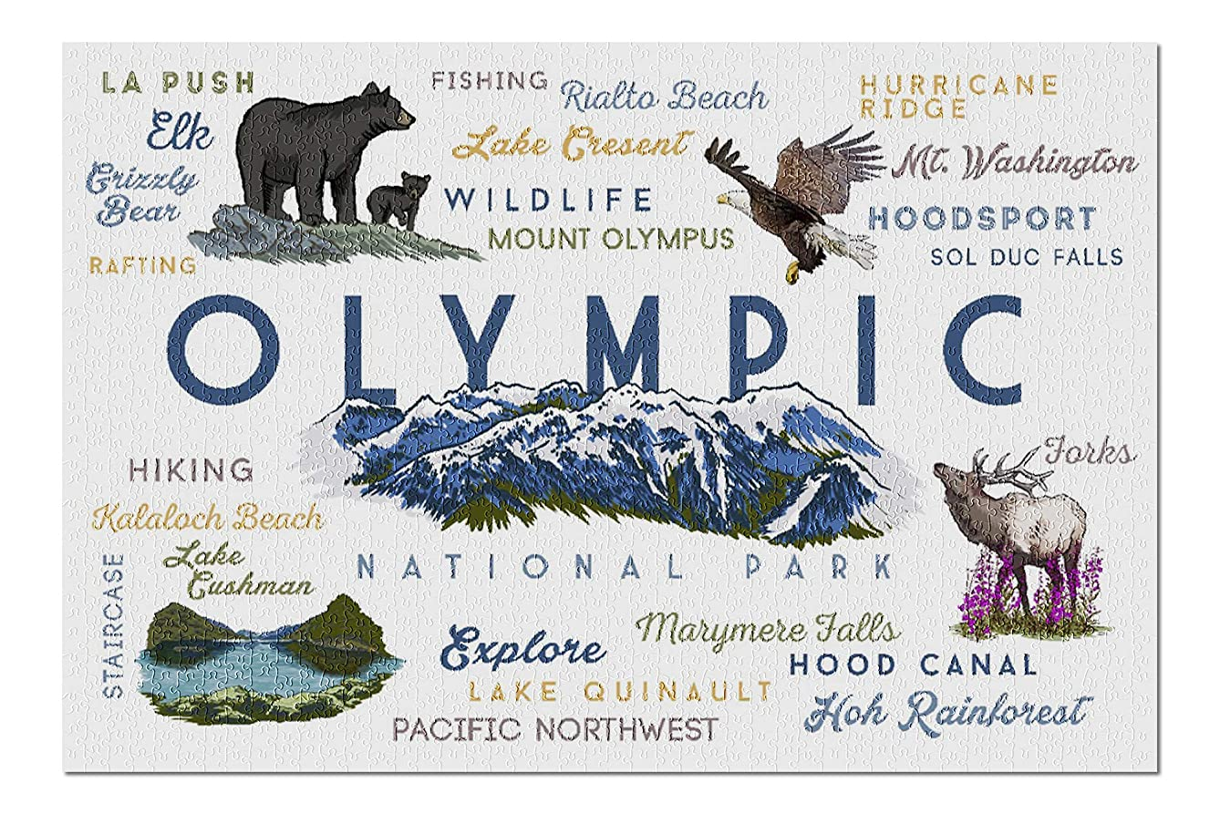 Olympic National Park, Washington - Mountain Range - Typography and Icons (20x30 Premium 1000 Piece Jigsaw Puzzle, Made in USA!)