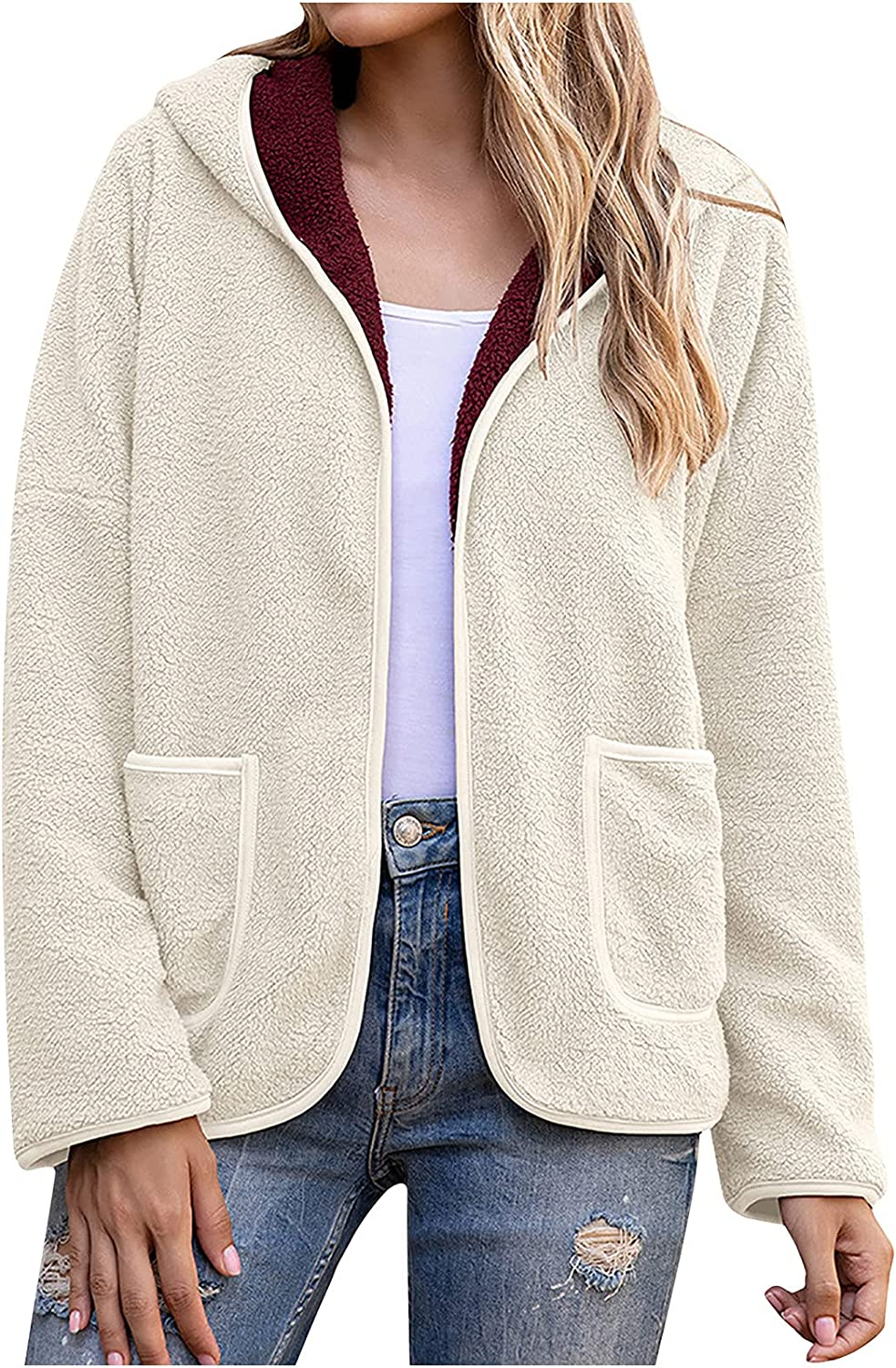 Women's Casual Plush Hooded Jacket Loose Fit Solid Color Fleece Sweater Color Block Pocket Coat Fall Winter Warm Tops