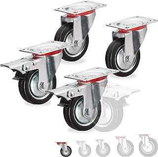 Relaxdays Set van 4, draaibaar, kogellagers, 2 wielen met rem, draagkracht tot 200 kg, wiel D: 75 mm, zwart