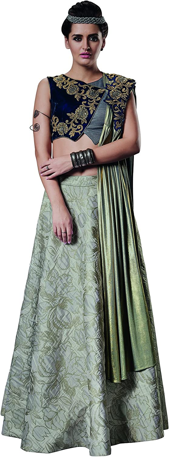 DesiButik's Wedding Wear Elegant Grey Jacquard Silk Lehenga Choli with Dupatta