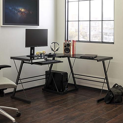 Walker Edison Furniture Company Modern Corner L Shaped Glass Computer Writing Gaming Gamer Command Center Workstation...
