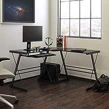 Walker Edison Modern Corner Glass Computer Gaming Gamer Command Center Desk, 51 Inch, Black