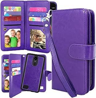 LG Aristo 2 Plus Case, Harryshell 12 Card Slots Detachable Magnetic Flip PU Wallet Leather Case Cover Wrist Strap for LG Tribute Dynasty/Fortune 2 / K8 2018 / Rebel 3 LTE/Zone 4 (Purple)