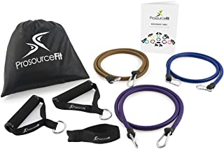 Prosource Fit XTREME Premium Heavy Duty Double Dipped Latex Stackable Resistance Bands Set with Extra Large Handles, Door Anchor, Carrying Case, and Exercise Chart