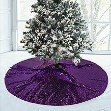 "48""ChristmasTree Skirt Purple Tree Skirt Sequin VintageChristmasTreeSkirt LargeTree Skirt for Halloween Decor (48"", ..."