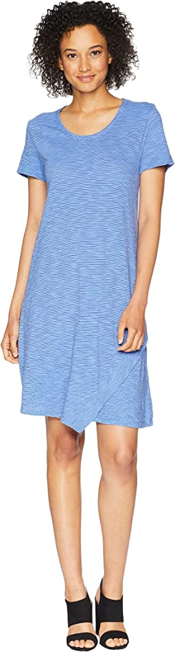 Slub Mini Stripe Asymmetrical Hem T-Shirt Dress