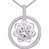 ALOV Jewelry Sterling Silver Pure Love Cubic Zirconia Pendant Necklace