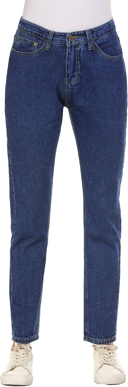 Akewei Women's Jeans, High Waist Solid Vintage StraightLeg Denim Pants