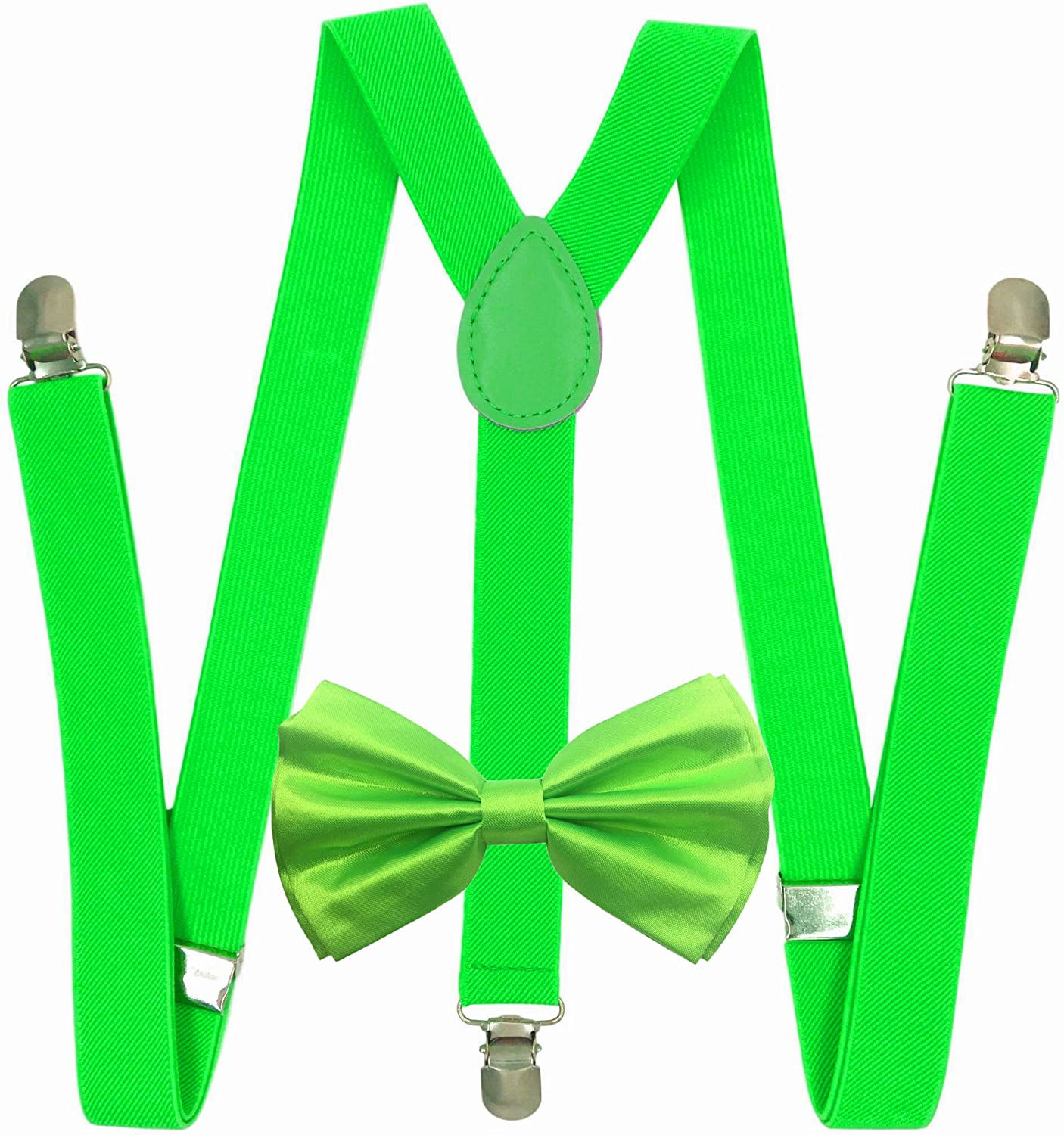 New Suspender Bow Tie Matching Colors Adults Unisex Formal - Halloween - Neon Green Combo