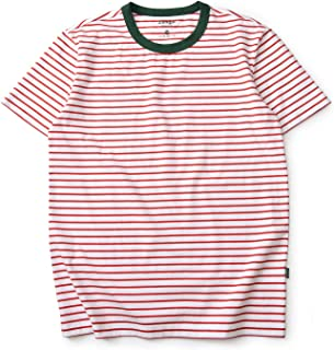 Zengjo Stripe Shirt Men Short Sleeve Crew Neck Striped Cotton T Shirt Men