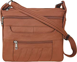 Leather Concealed Carry Crossbody Purse – YKK Locking CCW Ambidextrous Gun Bag Roma 7082