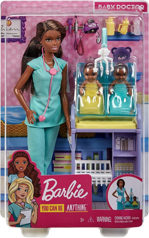 Barbie GKH23 - Kinderärztin Puppe (blond) und Spielset mit Zubehörteilen, Spielzeug ab 3 Jahren Brünett