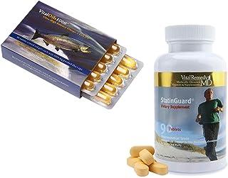 VitalRemedyMD VitalOils1000 Ultra-High Potency Omega 3 Fish Oil Burpless, DHA, EPA (1000 mg per cap) and Statinguard CoQ10 (Coenzyme Q10) 100 mg, L-carnitine 125 mg, Alpha-lipoic Acid 50 mg, Vitamin E
