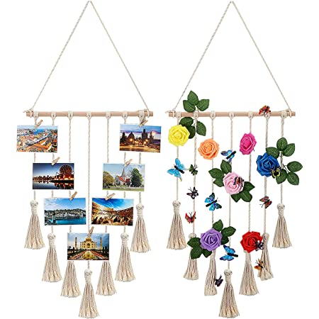 LATT Hanging Photo Display Picture Frame Macrame Wall Decor Hanging Pictures Organizer for Wall Bedroom Home Decoration 25 Wood Clips Cream