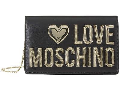 LOVE Moschino Metallic Logo Crossbody (Black) Handbags