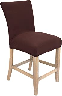 Internet's Best Dining Room Chair Cover   Set of 4   Stretch Slipover Chair Protectors   Elastic Covers   Coffee