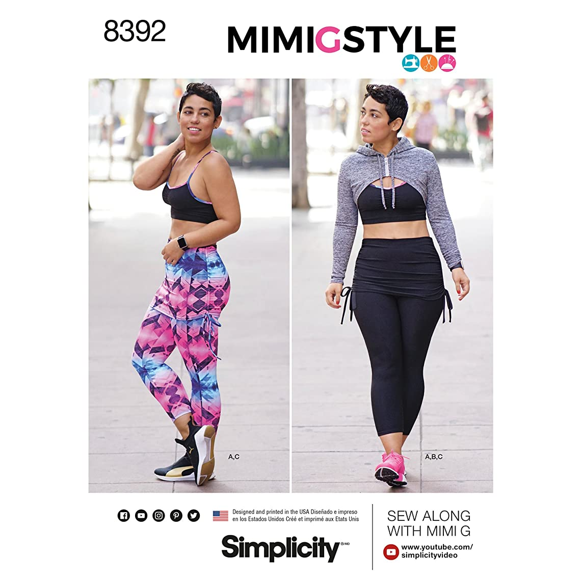 Simplicity Pattern 8392 Misses' Knit Sports Bra, Cropped Leggings with Attached Skirt and Mini Hoodie by Mimi G, XXS-XXL