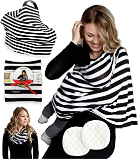 Baby Nursing Cover for Breastfeeding - 3 Pack Premium Set of Car Seat Canopy & Nursing Pads - Use As Stretchy Scarf, Poncho, Shawl, Wrap Up for Infant Boys & Girls