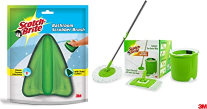 Scotch-Brite Jumper Spin Mop with Round and Flat Heads with Refill & Scotch-Brite Bathroom Brush with Abrasive Fiber Web (Green)
