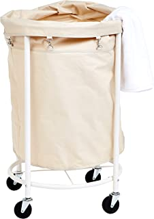 AmazonBasics Commercial Round Laundry Hamper Rolling Cart with Removable Basket Liner, Beige
