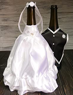 Bride and Groom Wine Bottle Covers- Wine bottle dress-up for Weddings- Wedding Gifts For the Couple- Fun Wine Bottle Covers- Wedding Centerpieces Decorations- Wine décor- wine accessories