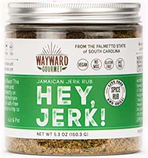 Hey Jerk! Jamaican Jerk Chicken Seasoning by Wayward Gourmet - Bring Authentic Jamaican Flavor to Chicken, Beef, Pork, Fish - No Salt Dry Rub - Vegan - No MSG or Gluten - Great Jamaican Jerk Marinade