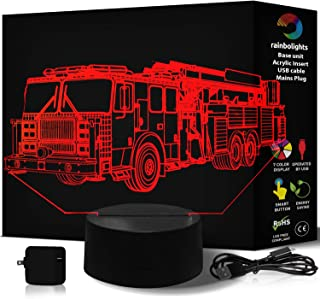 FIRE Truck Illusion Night Light 7 Color LED Does Not Get Hot A Great Gift for Boys Kids or Fireman Compliments Any Fire Set or Emergency Toy Set Comes with Mains Plug & USB Cable by rainbolights