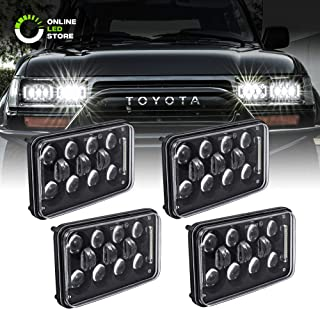 4pc 4x6 LED Sealed Beam Headlight Assembly [12,000 Lumens] [High/Low + DRL] [Black Housing] H4651 H4652 H4656 H4666 H6545 H6054 Replacement