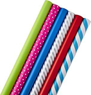 Hallmark All Occasion Wrapping Paper Bundle with Cut Lines on Reverse (Pack of 6; 180 sq. ft. ttl.) Solids, Polka Dots & Stripes for Birthdays, Christmas, Holidays, Weddings and More