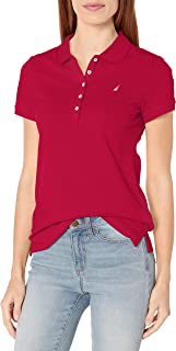 Nautica womens 5-Button Short Sleeve Breathable 100% Cotton Polo Shirt Polo Shirt