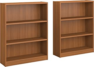Bush Furniture Universal 3 Shelf Bookcase Set of 2 in Royal Oak