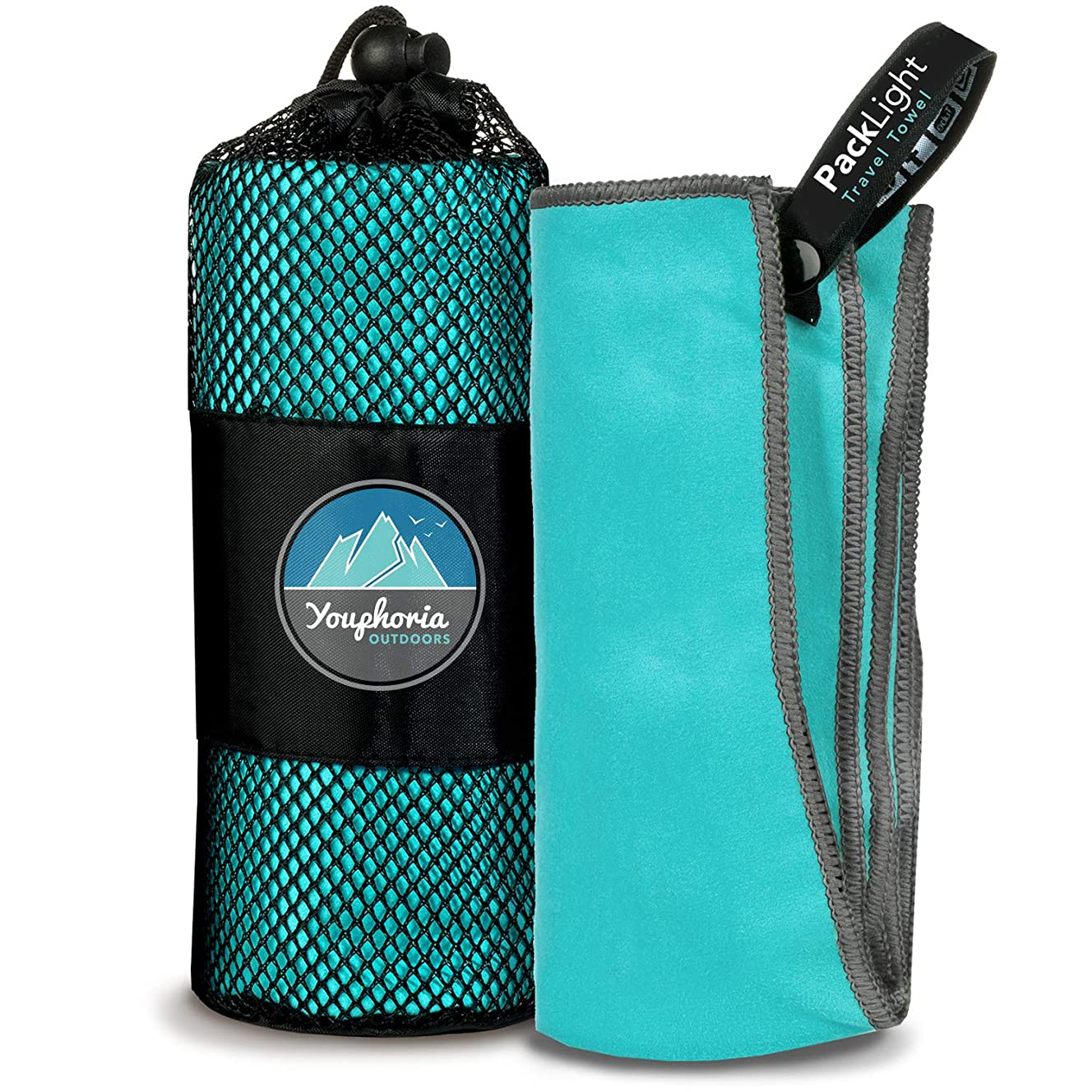 Youphoria Outdoors Microfiber Quick Dry Travel Towel - Ideal Fast Drying Towels for Travel, Camping, Beach, Backpacking, Gym, Sports, and Swimming - Ultra Light, Fast Drying and Absorbent - 3 Sizes