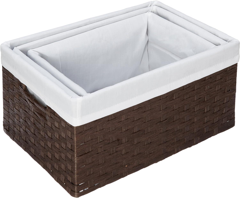 Redmon 3-Piece Basket Storage Set, Espresso White
