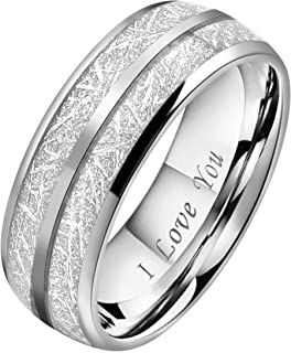 6mm 8mm Tungsten Silver Meteorite Inlay Ring Band Silver/Black/Rose Gold Engraved